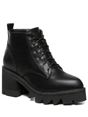 Stitching Platform Tie Up Ankle Boots