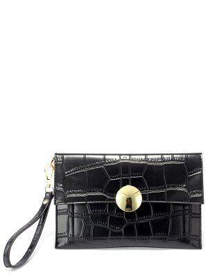 Metal Crocodile Embossed Clutch Bag - Black