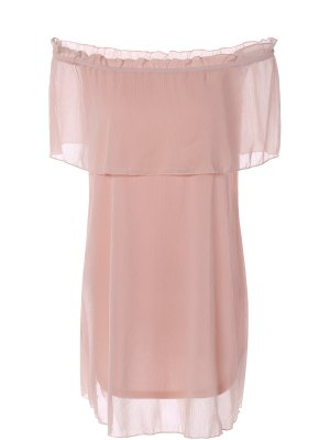 Flounce Ruffles Off The Robe En Mousseline De Soie - Rose PÂle Xl