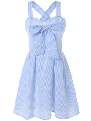 Striped bowknot bretelles Robe