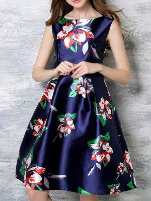 Sleeveless Printed Midi Dress - Blue S