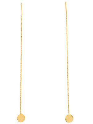 Long Chain Disc Ear Threads - Golden