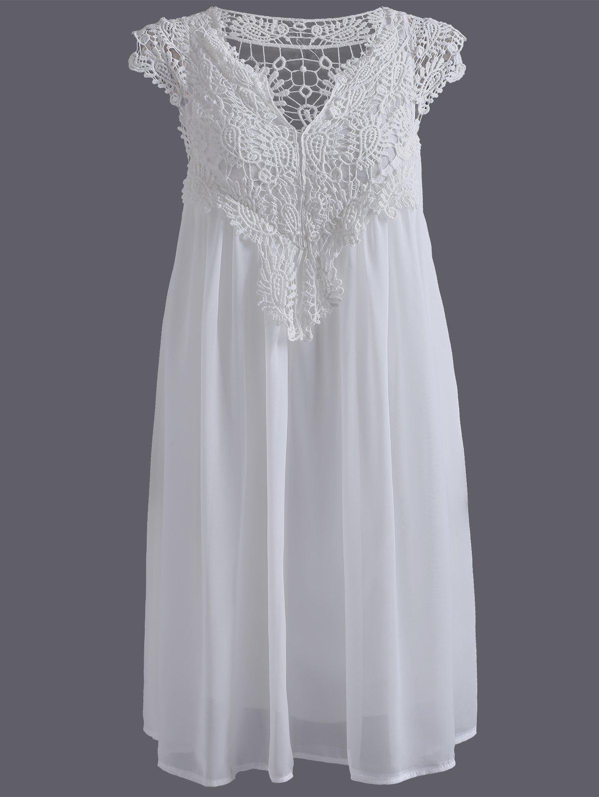 Lace panel chiffon dresses