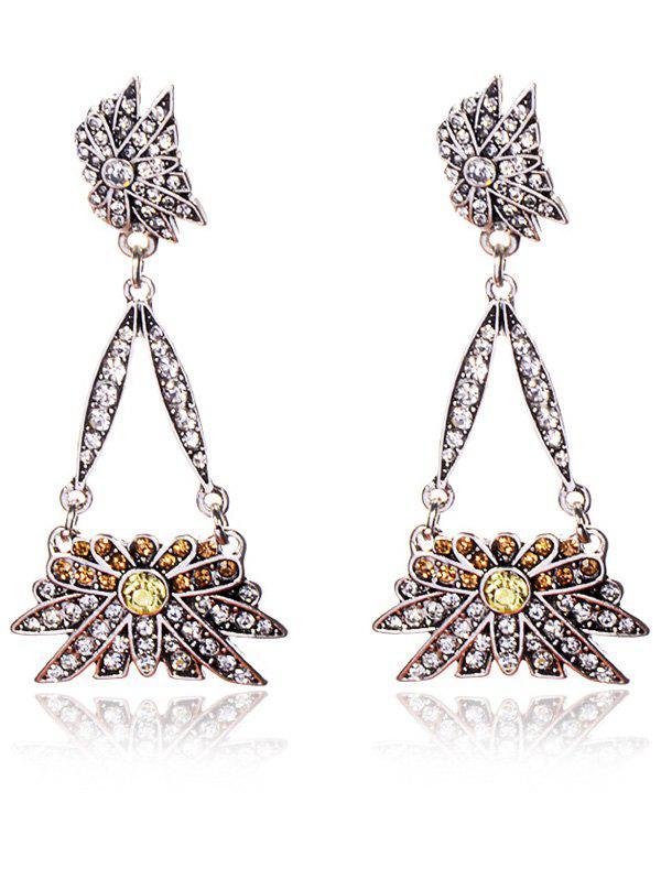 Rhinestoned Floral Triangle Party Boucles d'oreilles Bijoux