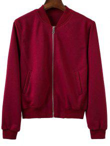 Zip Up Fitting Stand Neck Long Sleeve Jacket - Wine Red M