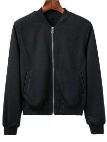 Zip Up Fitting Stand Neck Long Sleeve Jacket - Black M