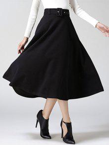 عالية الخصر نقي اللون تنورة تويد ميدي - أسود S
