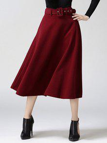 عالية الخصر نقي اللون تنورة تويد ميدي - نبيذ أحمر L