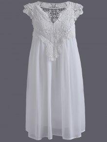 فستان الحجم الكبير دانتيل كهنوتي مصغر - أبيض Xl