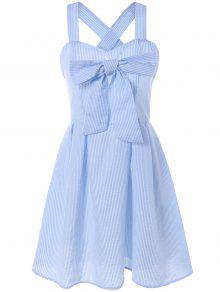 Vestido A Rayas Correas Bowknot - Azul Claro 2xl