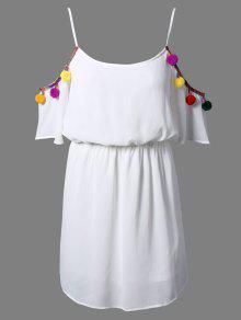 Blanc Cami 3/4 Sleevel Une Robe De Ligne - Blanc 2xl