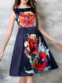 Buy Sleeveless Flared Midi Dress - PURPLISH BLUE L