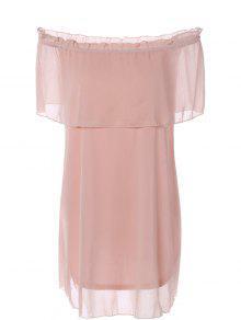 Ruffles Off The Shoulder Chiffon Dress - Pink Xl