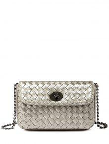 PU Leather Chains Woven Crossbody Bag - Silver Gray