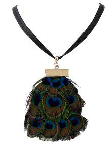 Faux Collar Pluma Del Pavo Real