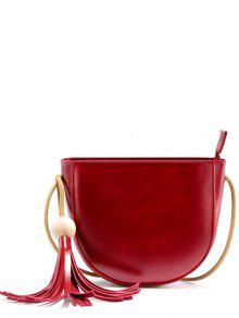 Tassel Wood Ball Crossbody Bag - Wine Red
