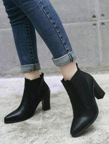 Pointed Toe Chunky Heel Elastic Ankle Boots BLACK: Boots 37 | ZAFUL