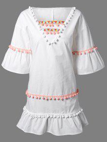 الفستان بالتطريز مع كرات الوبر الصغيرة وثلاثة أرباع الأطوال من الكم - أبيض 2xl