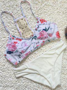 Volver Crochet Conjunto Floral Del Bikini - Blanco L