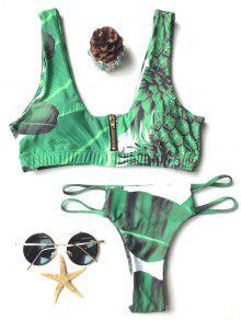 T Cuello De Palm Ajuste Impresión Del Bikini - Verde L