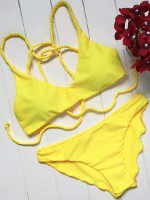 Juego De Bikini Con Tirantes Trenzados Y Festones - Amarillo S