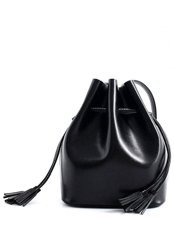 womens Tassels Drawstring PU Leather Crossbody Bag - BLACK