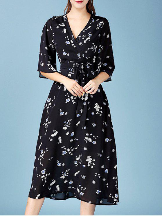 3 4 Sleeve Chiffon Dress