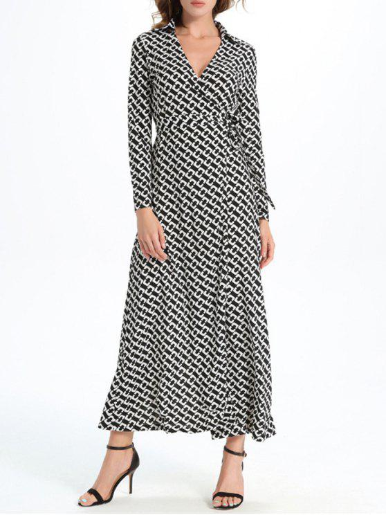 outfits Geometric Print Maxi Wrap Long Sleeve Dress - WHITE AND BLACK 2XL