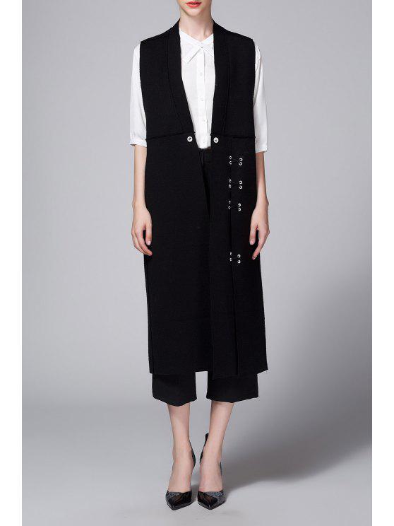 معطف صدرية زر جانب الانقسام - أسود XL
