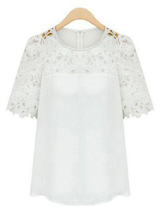 4addfd3915daaa 21% OFF] 2019 Guipure Lace Splicing Openwork Blouse In WHITE | ZAFUL