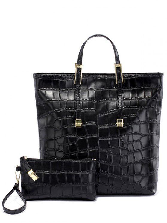 outfits Crocodile Embossed Metal Buckle Tote Bag - BLACK