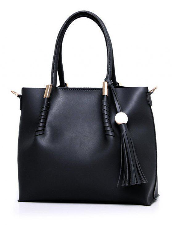 حقيبة كبيرة توتس شرابة بخرزة معدنية - أسود