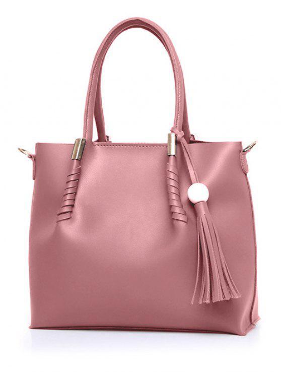outfit Tassels Metal Bead Tote Bag - PINK