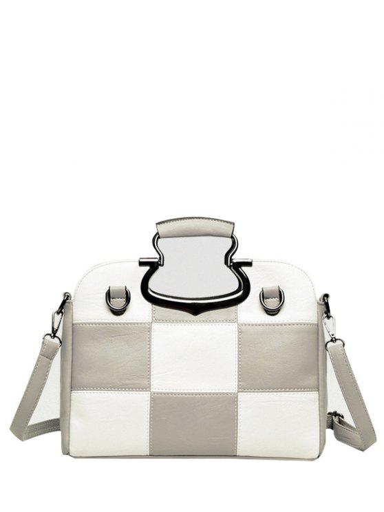 trendy Color Block Checkered Tote Bag - LIGHT GRAY