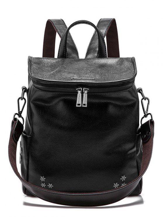 outfits Snowflake Pattern Metal Zippers Backpack - BLACK