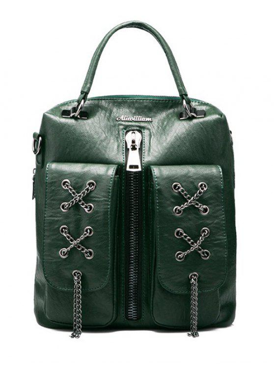 trendy Chains Zippers PU Leather Backpack - BLACKISH GREEN