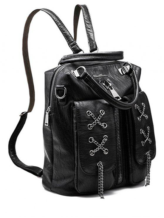 chic Chains Zippers PU Leather Backpack - BLACK