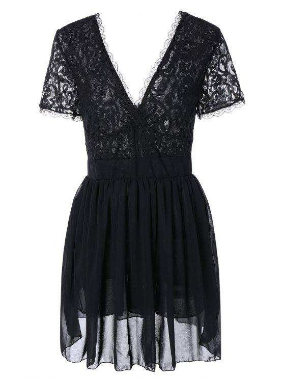 shop Lace Spliced Plunging Neck Sexy Birthday Dress - BLACK L