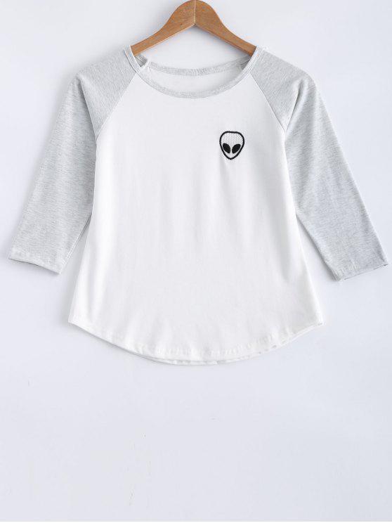 Cráneo raglán de la manga de impresión del bloque del color de la camiseta - Gris Claro XL