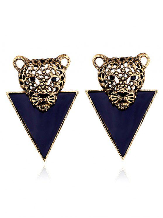 outfits Alloy Triangle Lion Head Earrings - GOLDEN