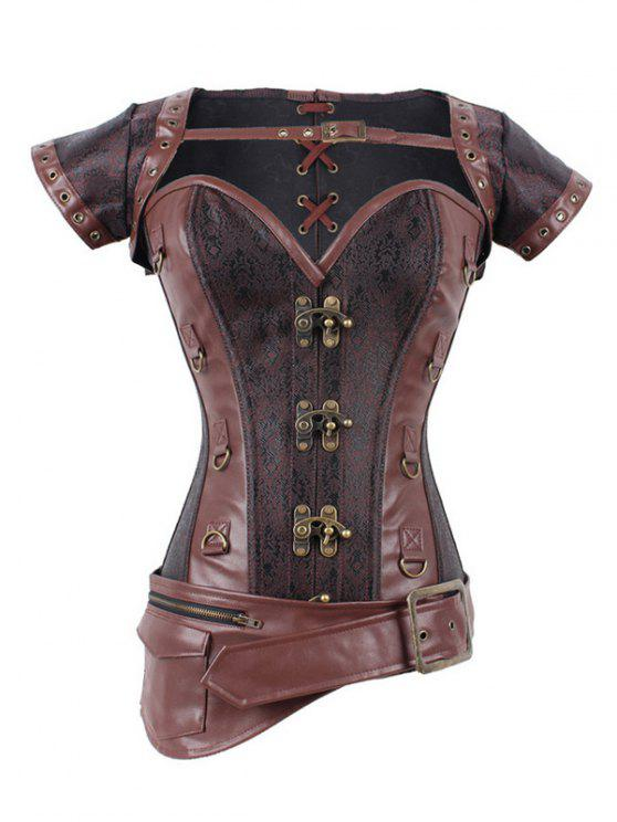 outfits Zipper Buckle Design Asymmetric Corset - DEEP BROWN 3XL