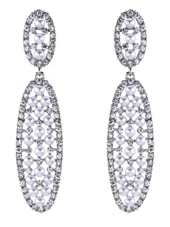 trendy Rhinestoned Faux Pearl Oval Drop Earrings - SILVER