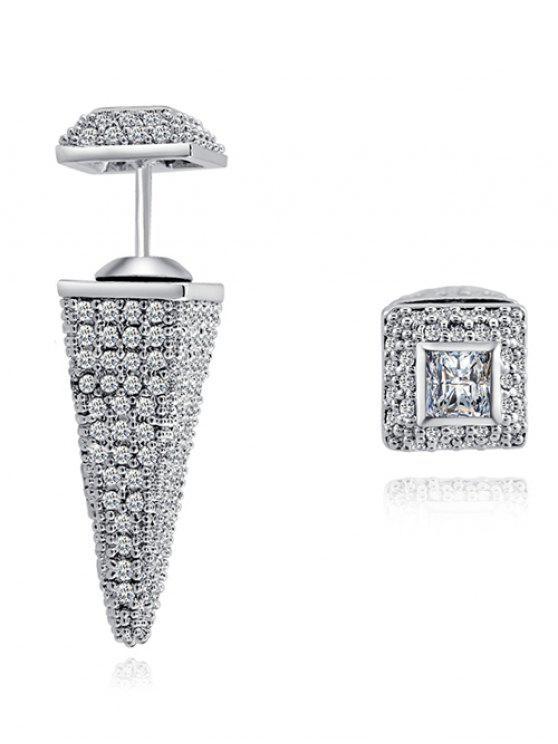 Faux cristal Rhinestoned géométrique Boucles d'oreilles - Argent