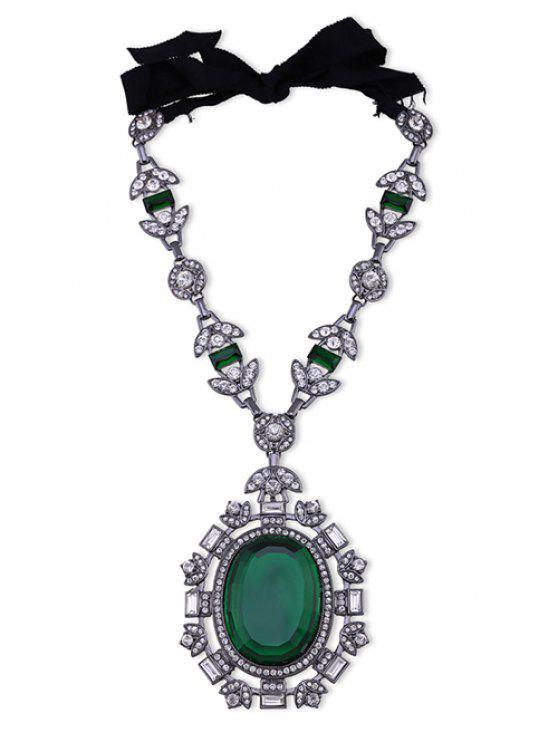 Collar oval de la hoja de imitación de la gema del Rhinestone - Verde