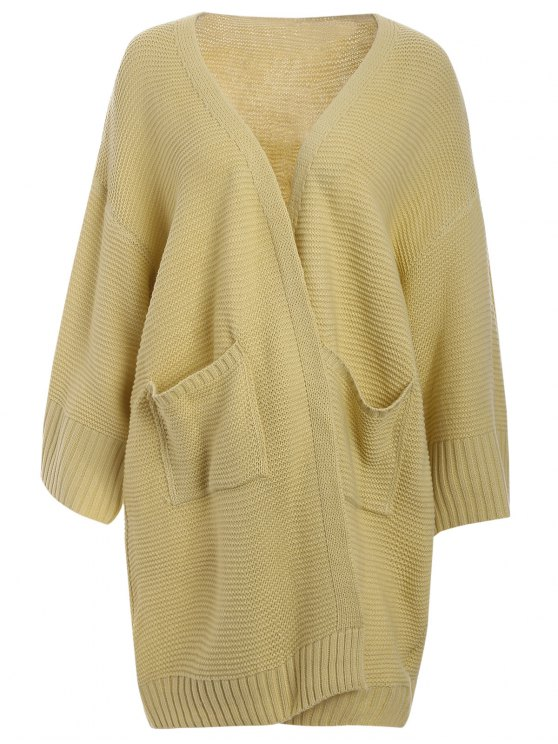 new Big Pockets Longline Cardigan - YELLOW ONE SIZE