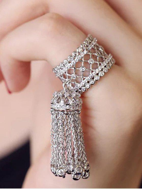 trendy Rhinestoned Round Tassel Chains Ring - SILVER ONE-SIZE
