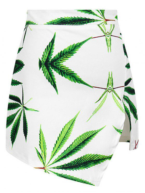 new Leaf Print Asymmetric Slit Skirt - WHITE ONE SIZE