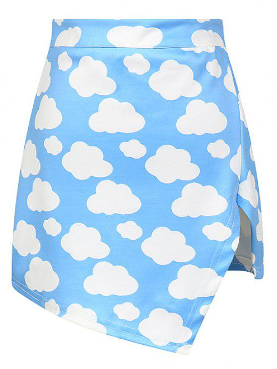 hot Cloud Print Asymmetric Slit Skirt - AZURE ONE SIZE