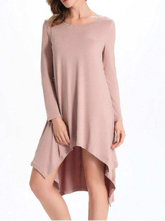 women Loose High-Low Round Neck Long Sleeve Dress - NUDE M