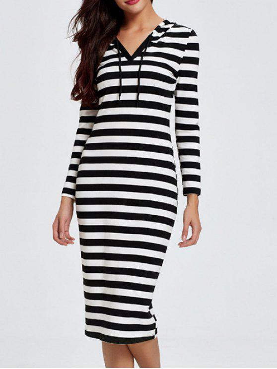 lady Hooded Striped Midi Dress With Sleeves - BLACK L